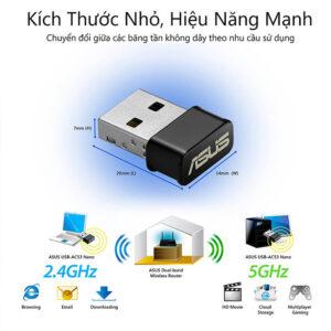 Card mạng WiFi USB ASUS chuẩn AC1200 USB-AC53 Nano