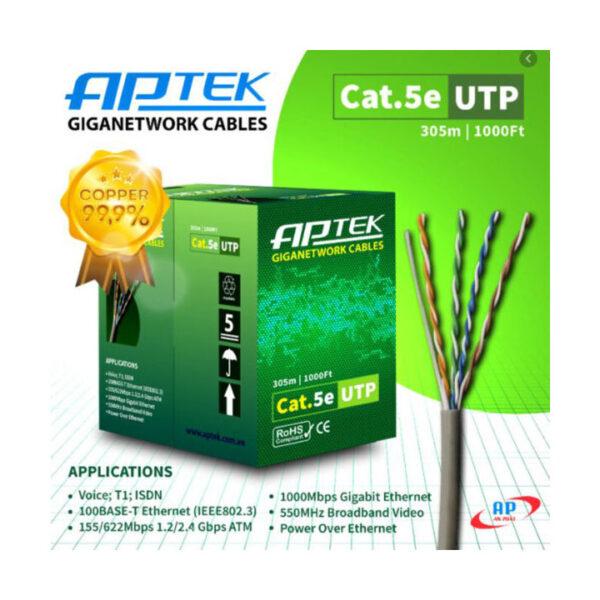 Cáp mạng APTEK CAT5e UTP Copper 24AWG, vỏ nhựa PVC 530-1101-2