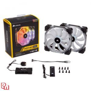Quạt Case Corsair HD 140 RGB LED - Hộp 2 Fan - with controller