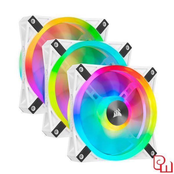 Quạt Case Corsair QL120 WHITE PRO RGB LED kèm Node CORE - Hộp 3 Fan (CO-9050104-WW)