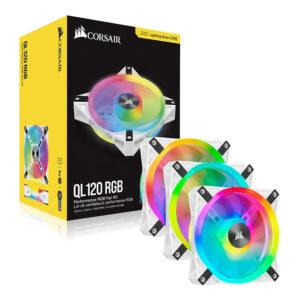Quạt Case Corsair QL120 RGB White 3 Fan+Node CORE CO-9050104-WW